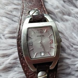 Fossile leather band womens watch